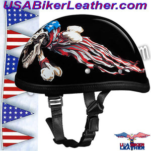 Novelty Patriot Skull Motorcycle Helmet / SKU USA-6002P-DH - USA Biker Leather - 3