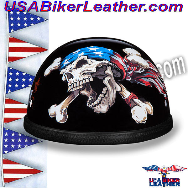 Novelty Patriot Skull Motorcycle Helmet / SKU USA-6002P-DH - USA Biker Leather - 1