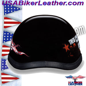 Novelty Patriot Skull Motorcycle Helmet / SKU USA-6002P-DH - USA Biker Leather - 4