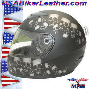 DOT Full Face Skull Pile Motorcycle Helmet / SKU USA-RZ80SP-HI - USA Biker Leather - 2