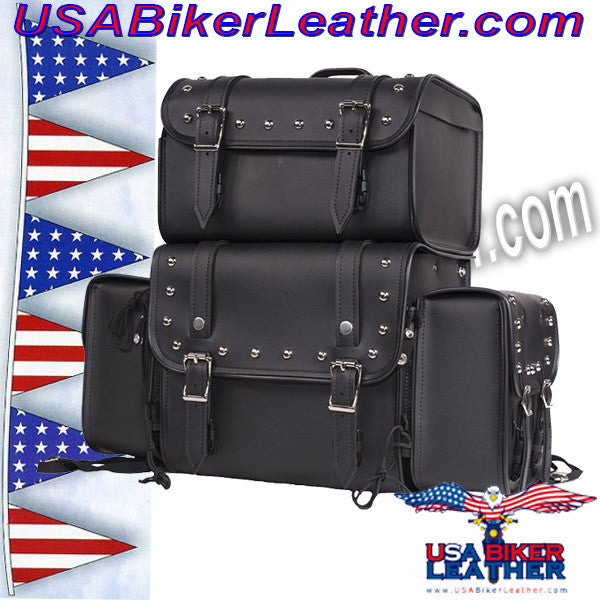 Large Sissybar Bag with Studs / SKU USA-SB3-DL - USA Biker Leather - 1