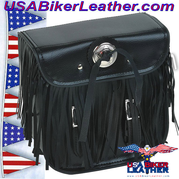 Motorcycle Sissybar Bag with Fringe / SKU USA-SB5004-DL - USA Biker Leather - 1