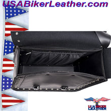 Slanted PVC Motorcycle Saddlebags with Studs / SKU USA-SD4054PV-DL - USA Biker Leather - 4