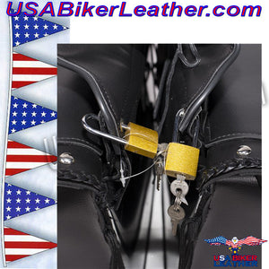Slanted PVC Motorcycle Saddlebags with Studs / SKU USA-SD4054PV-DL - USA Biker Leather - 3