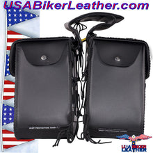 Slanted PVC Motorcycle Saddlebags with Studs / SKU USA-SD4054PV-DL - USA Biker Leather - 2