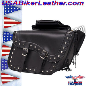 Slanted PVC Motorcycle Saddlebags with Studs / SKU USA-SD4054PV-DL - USA Biker Leather
