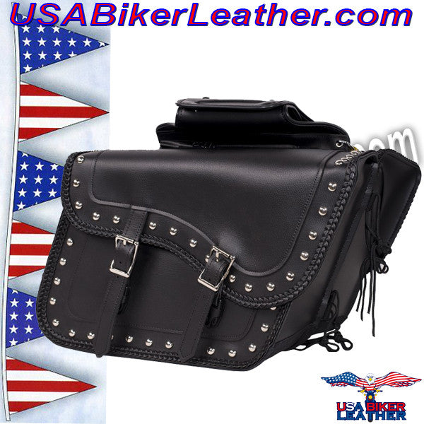 Slanted PVC Motorcycle Saddlebags with Studs / SKU USA-SD4054PV-DL - USA Biker Leather - 1