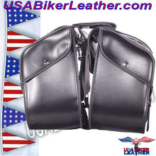 PVC Motorcycle Saddlebags with Studs / SKU USA-SD4080-DL - USA Biker Leather - 4