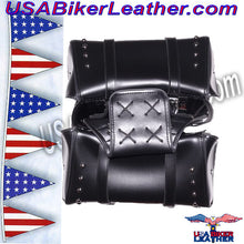 PVC Motorcycle Saddlebags with Studs / SKU USA-SD4080-DL - USA Biker Leather - 2