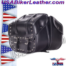 PVC Motorcycle Saddlebags with Studs / SKU USA-SD4080-DL - USA Biker Leather - 1