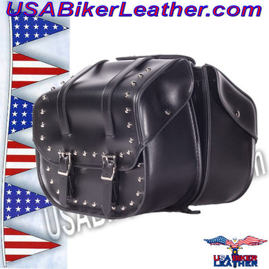 PVC Motorcycle Saddlebags with Studs / SKU USA-SD4080-DL - USA Biker Leather
