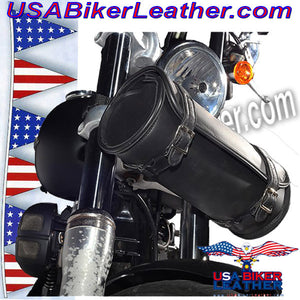 Round Motorcycle Tool Fork Bag / SKU USA-TB3007-10-DL - USA Biker Leather - 3