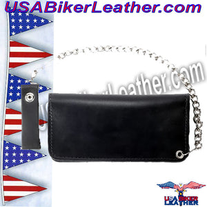 Black Leather Flame Wallet with Chain / SKU USA-WALLET1-DL - USA Biker Leather - 2