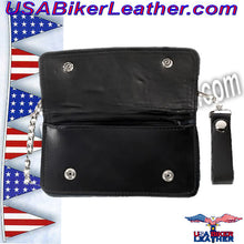 Black Leather Flame Wallet with Chain / SKU USA-WALLET1-DL - USA Biker Leather - 3