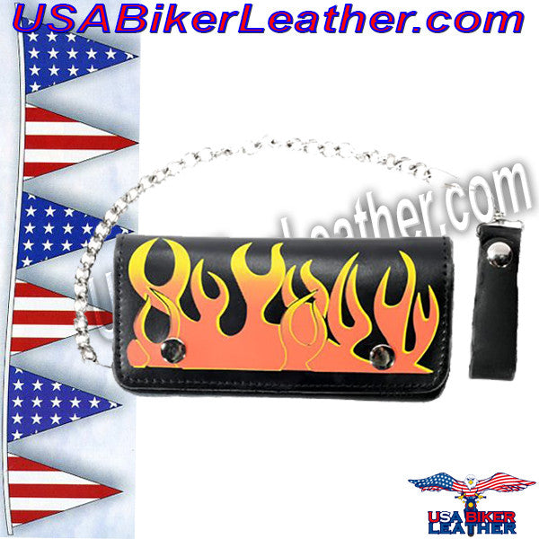 Black Leather Flame Wallet with Chain / SKU USA-WALLET1-DL - USA Biker Leather - 1