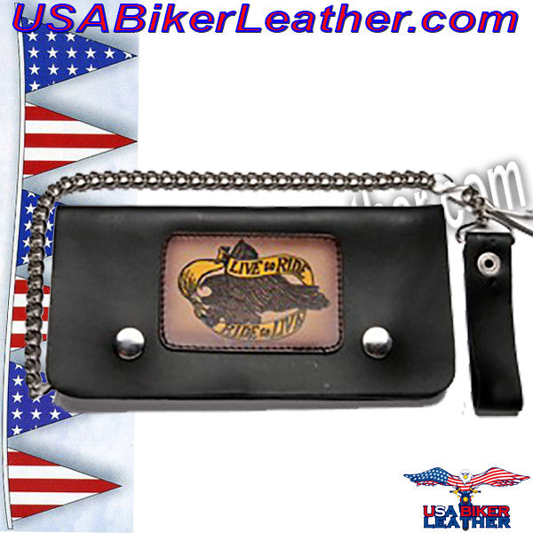 Live To Ride Leather Motorcycle Chain Wallet / SKU USA-WALLET2-DL - USA Biker Leather