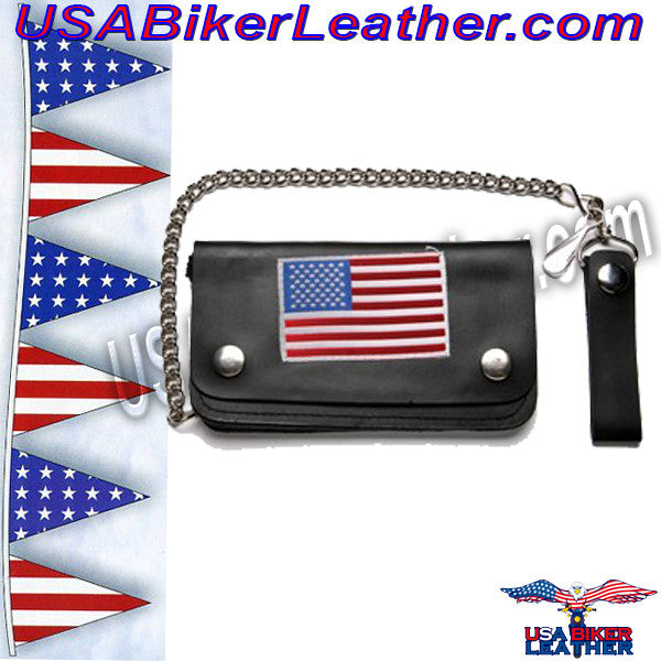 Leather Chain Wallet with USA Flag / SKU USA-WALLET9-DL - USA Biker Leather