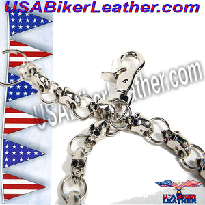 Biker Wallet Chain with Skulls / SKU USA-WTC10-DL - USA Biker Leather - 2