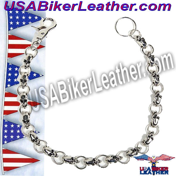 Biker Wallet Chain with Skulls - SKU USA-WTC10-DL - USA Biker Leather