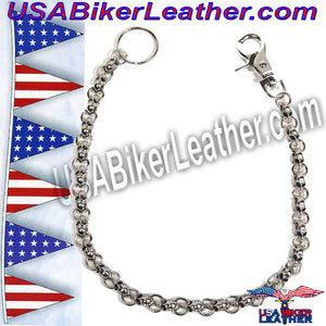 Chain with Skulls, Great Addition to your Wallet / SKU USA-WTC8-DL - USA Biker Leather