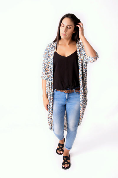 Long Light Animal Print Kimono