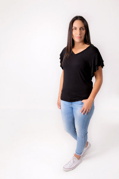 Black Flutter Sleeve Tee
