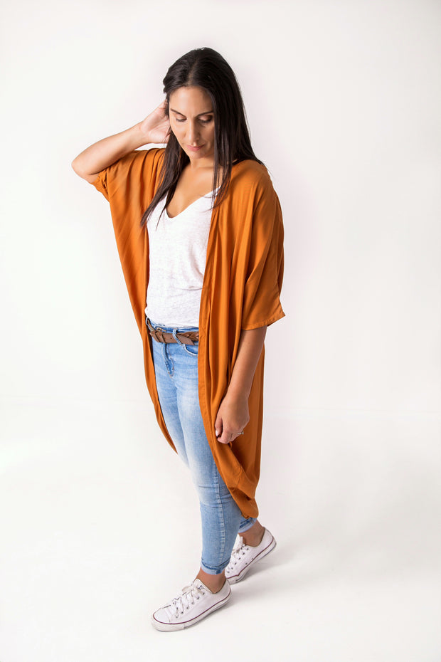 Long Plain Burnt Orange Kimono