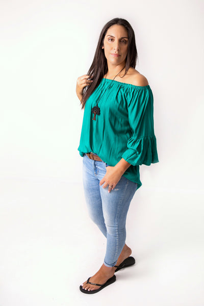 Green Off-shoulder Sabrina Top