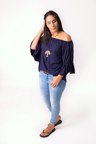 Navy Off-Shoulder Sabrina Top