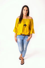 Mustard Off-shoulder Sabrina Top