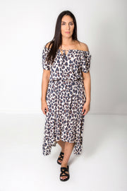 Boho Animal Print Peasant Dress