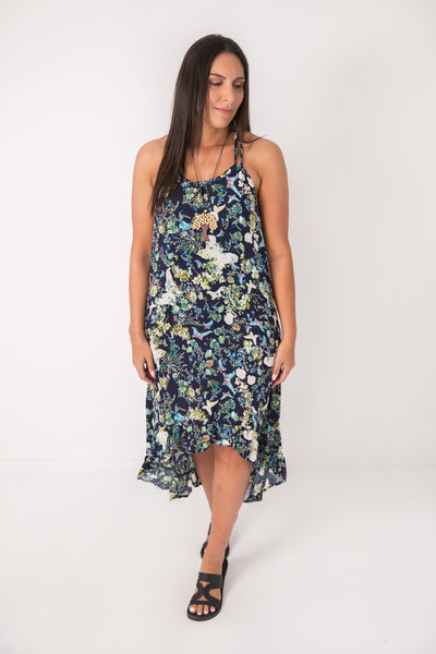 Navy Butterfly Dovetail Dress