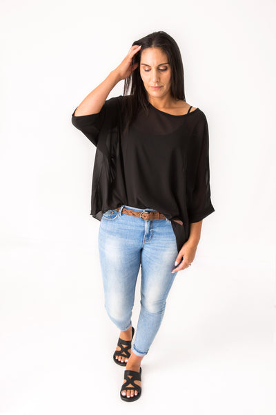 Black Draped Tops - Essential Collection