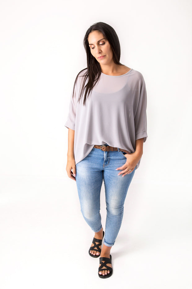 Grey Draped Tops - Essential Collection