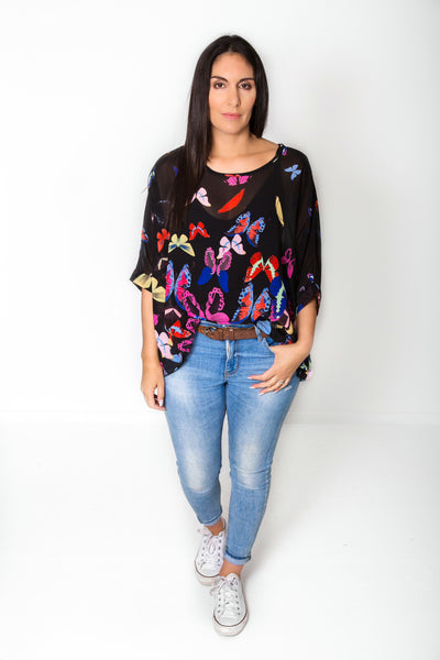 Black Butterflies Draped Top - Wild Collection