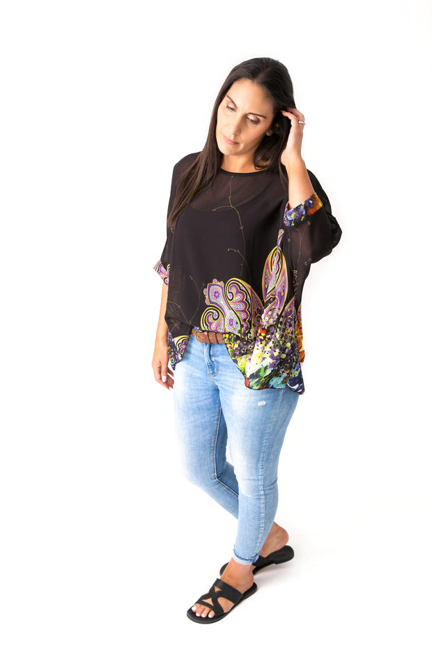 Black Paisley Draped Tops - Vogue Collection