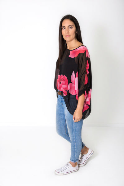 Black & Red Floral Draped Top - Floral Collection