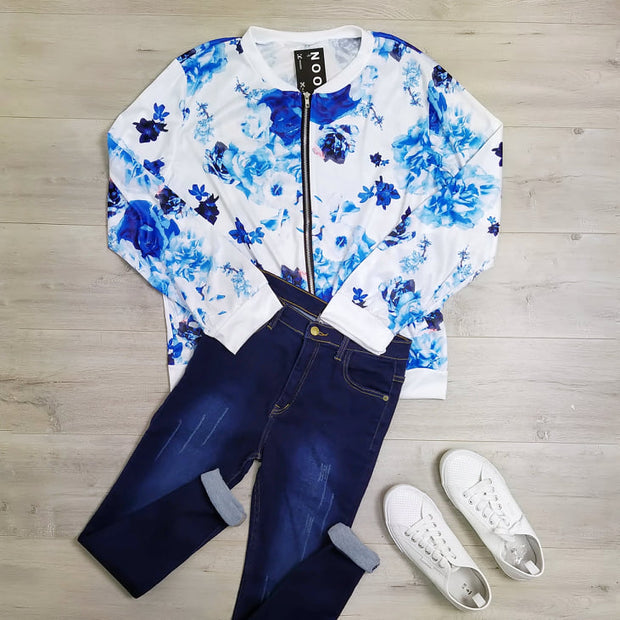 White & Blue Floral Del Zip Up