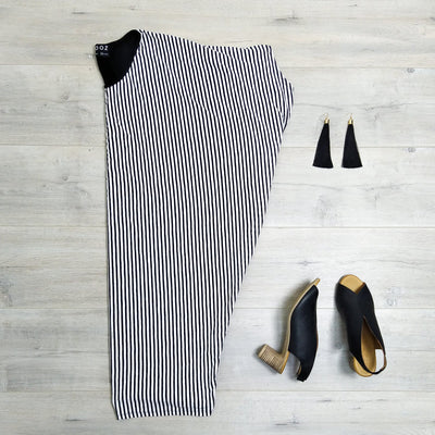 Thin W/B Striped Draped Dress