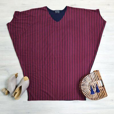 Wine & Navy Striped Draped Dress