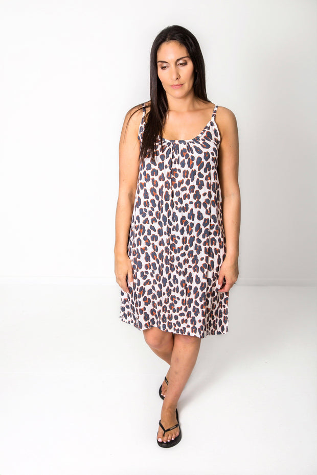 Short Shift Dress - Animal Print