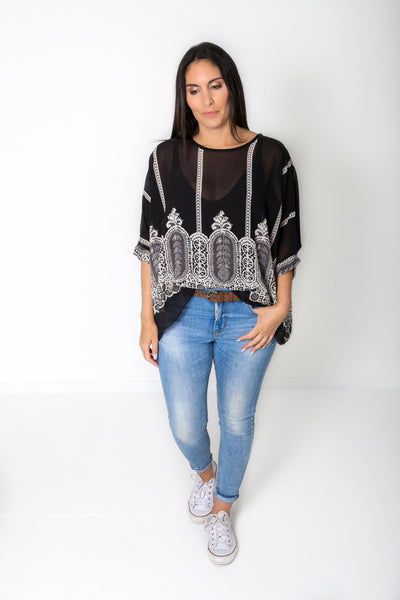 City Print Draped Tops - Vogue Collection