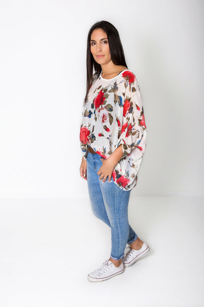 Cream Rose Draped Tops - Floral Collection
