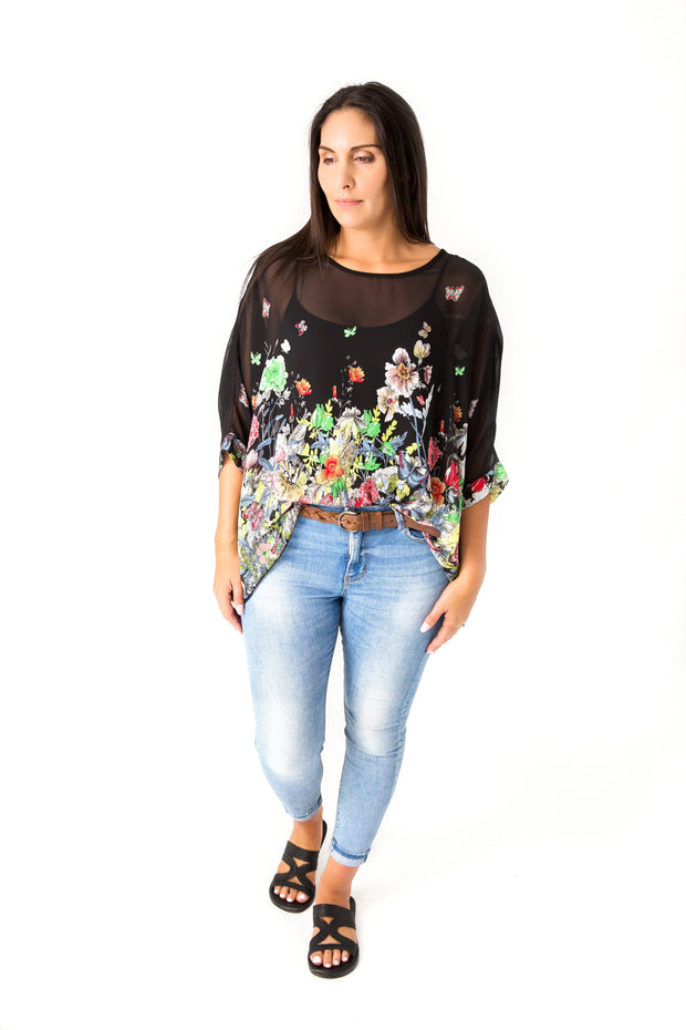 Green Poppy Draped Tops - Floral Collection