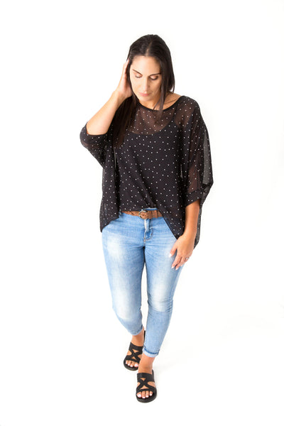 Polka Dot Draped Top - Vogue Collection