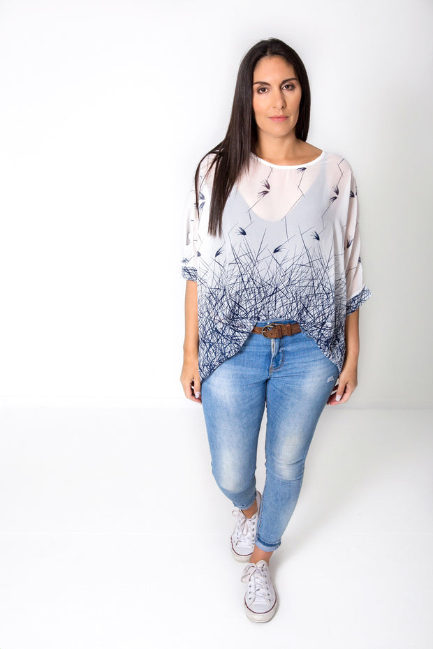 White & Blue Bird Draped Top - Wild Collection