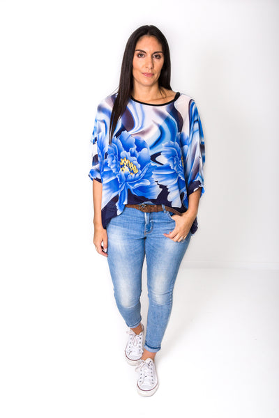 Bold Blue Flower Draped Tops - Floral Collection