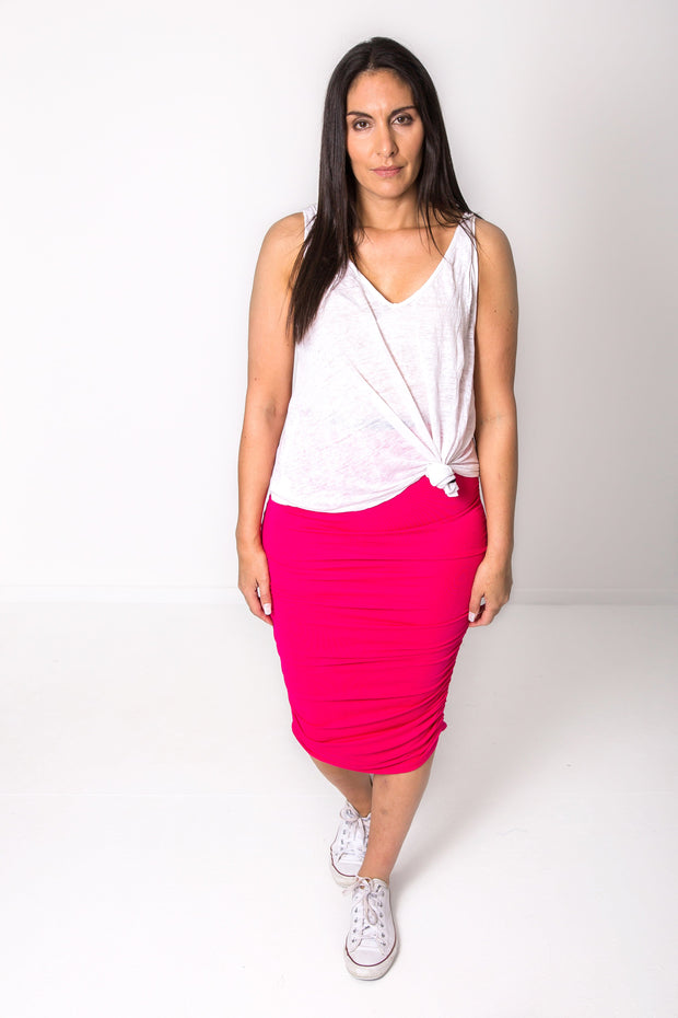Hot Pink Rouched Skirt