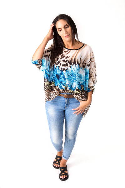 Blue Dahlia Draped Tops - Floral Collection