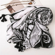 White & Black Nature Print Scarf